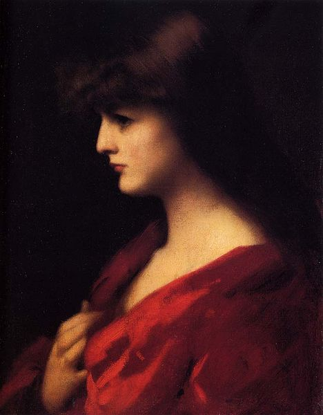 Study of a Woman in Red, Jean-Jacques Henner, circa 1890.