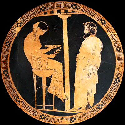 Attic red-figure kylix from Vulci (Italy), 440-430 BC. Kodros Painter. Oracle of Delphi: King Aegeus in front of Themis in the role of Pythia. Antikensammlung Berlin, Altes Museum, F 2538.