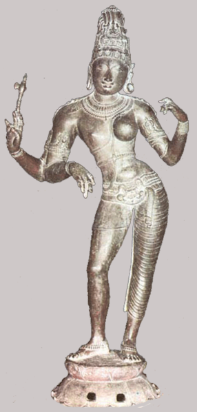 A three-armed bronze Ardhanarishvara