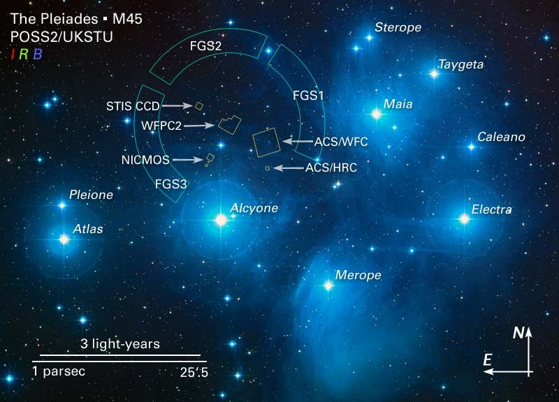 A map of the Pleiades. Hubble's look through the Pleiades (M45). NASA, ESA and AURA/Caltech.