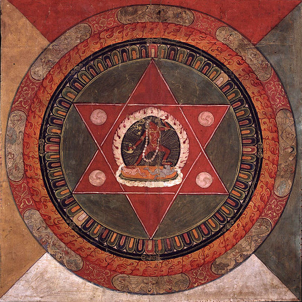 Painted 19th century, Tibetan mandala of the Naropa tradition, Vajrayogini stands in the center of two crossed red triangles, Rubin Museum of Art