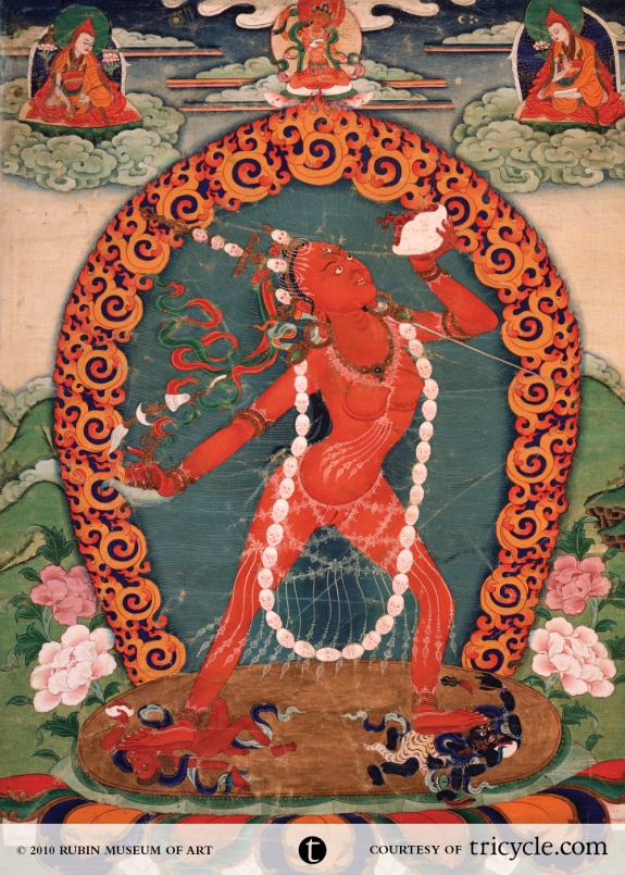 Vajrayogini. Eastern Tibet, 19th century, mineral pigment on cotton, 19.50 x 14.75 in. � 2010 Rubin Museum of Art (HAR 290)