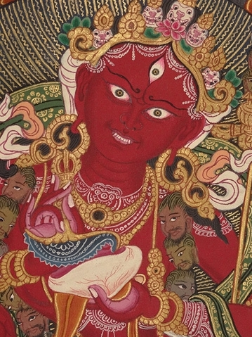 Vajrayogini Thangka  in the Newari Style, aquired from a European collection and probably commissioned around 20 years ago. The thangka displays the Dakini known as Vajrayogini and above her head is the Buddha Vajrasattva. Credit: Garuda  Trading, Cornwall, UK.